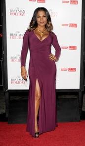 dress,nia long,burgundy