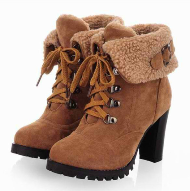 shoes brown heel boots high heels boots yellwbrown ankle boots furry boots suadeboots
