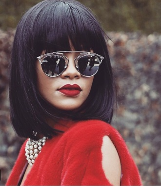 sunglasses style red lipstick fashion fur coat all red wishlist rihanna rihanna style rihanna sunglasses mirrored sunglasses retro sunglasses celebrity style celebrity sunnies