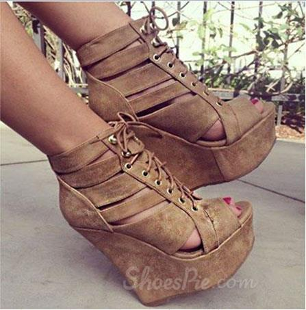 Fashionbale Bronw Coppy Leather Cut-Outs Wedge Heel Boots