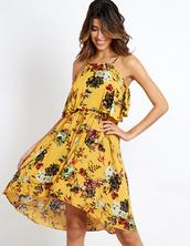 dress,blue vanilla,yellow dress,floral dress,midi dress,day dress,layered,summer dress,casual,flowy,flowy dress,halter dress,spaghetti strap,yellow summer dress