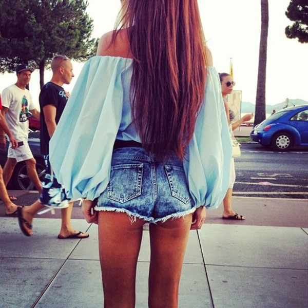 blouse shirt chiffion baby baby blue puffy sleeves mint hipster chiffon off the shoulder shorts