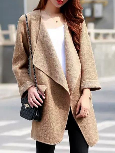 coat brown lapel open-front-pocket-detail long-sleeve knit-coat