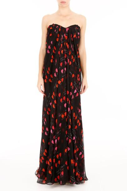 dress chiffon dress chiffon long print black red