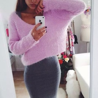 skirt pencil skirt bodycon sweater cute pink grey dress pretty