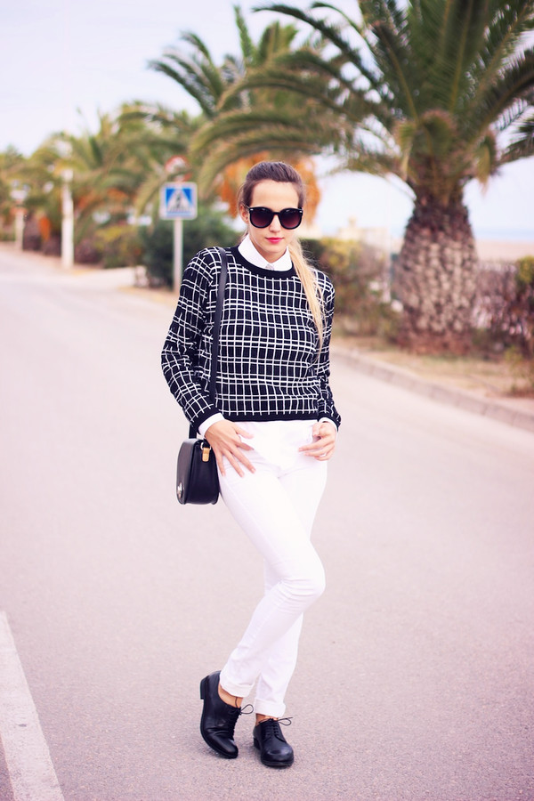 fashion quite sweater shirt bag sunglasses jeans shoes