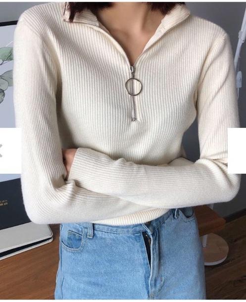 blouse girly nude zip zip-up half zip
