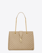 Saint laurent classic monogram saint laurent shopping bag in dark beige grain de poudre textured matelassé leather