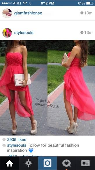 dress high-low dresses pink dress pretty dress want it❤️