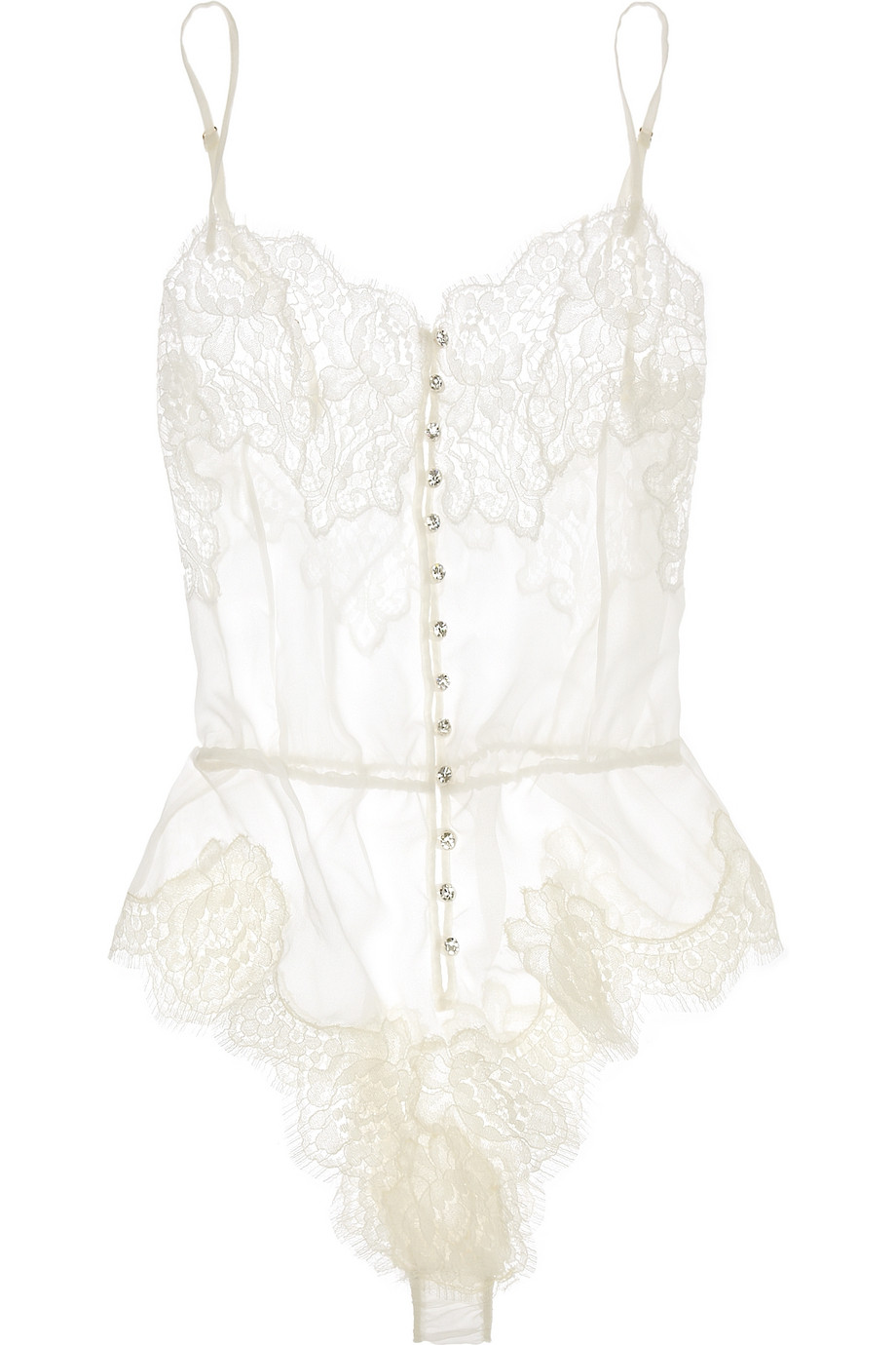 Georgette and chantilly lace bodysuit