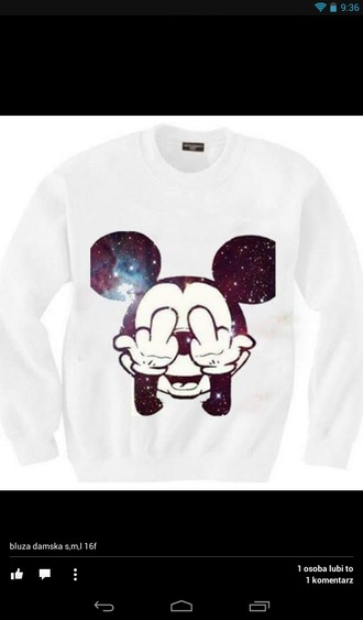 sweater white mickey mouse hoodie galaxy