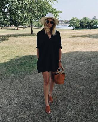 dress hat tumblr mini dress shirt dress black dress shoes mules bag sun hat handbag simon miller bag