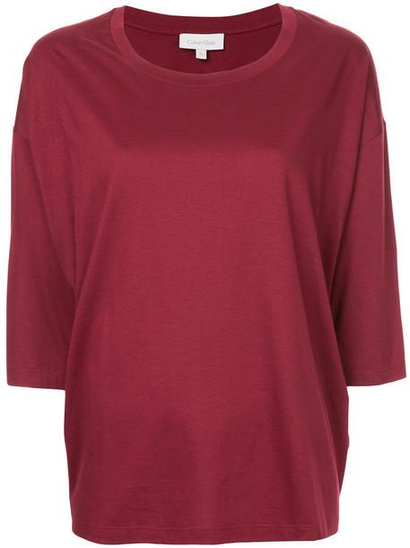Ck Calvin Klein t-shirt shirt t-shirt loose women fit cotton red top