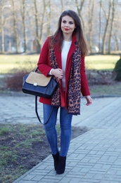 a piece of anna,blogger,leopard print scarf,red coat