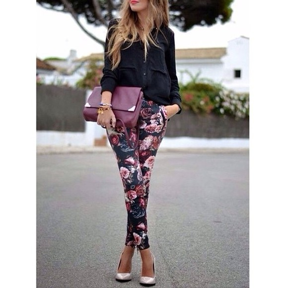 pants black black blouse floral floral pants bag clutch high heels