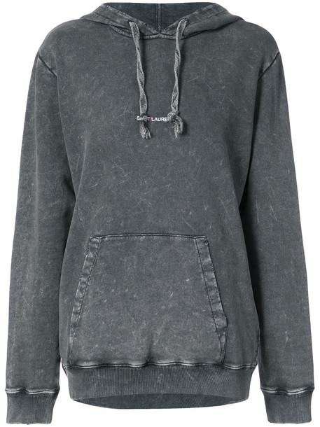 Saint Laurent hoodie long women cotton black sweater