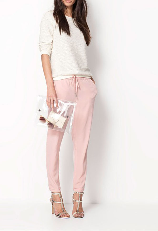 Kdq10 women drawstring elastic waist chiffon harem pants wf 4156