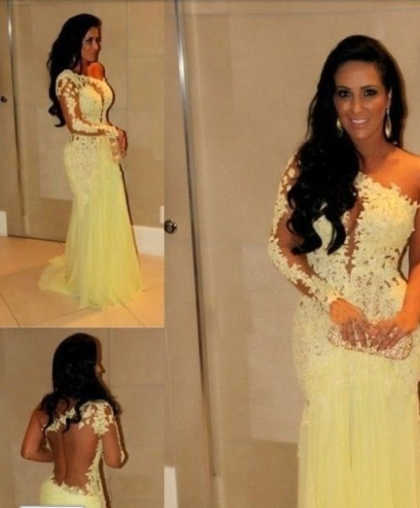 dress prom dress yellow dress lace