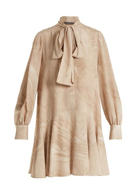 Alexander Mcqueen dress print silk marble beige