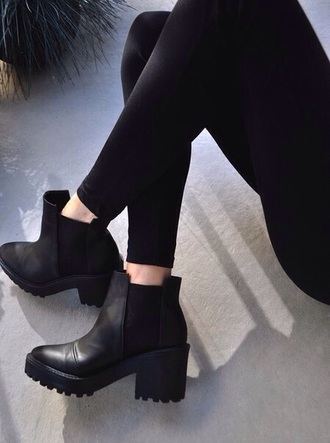 black boots platform shoes heels boots chelsea boots