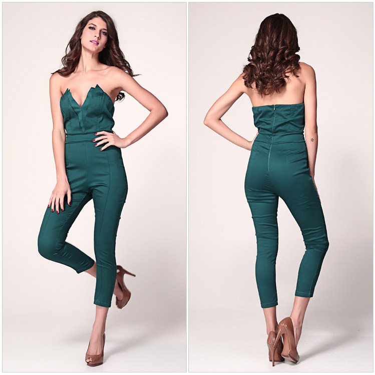 Fashion deep v jumpsuit