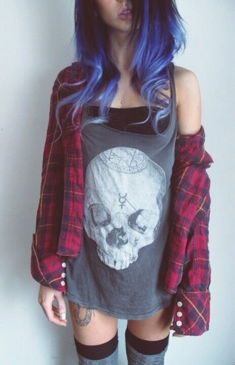 jacket top shirt knee high socks skull tee boho indie punk grunge hipster plaid jacket graphic tee skull plaid purple hair red thigh highs perfect tank top fashion red flannel shirt flannel t-shirt blouse grey karriert rot hemd girl goth hipster goth skull t-shirt mercury sign human skeleton top edgy black and white satan white tomboy