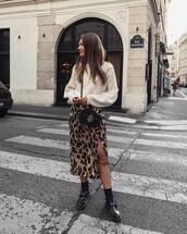 skirt,midi skirt,side split,leopard print,boots,jumper,crossbody bag