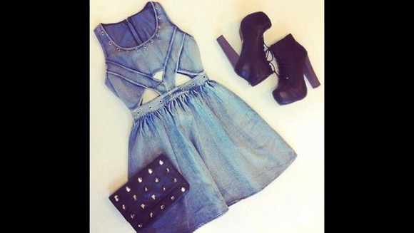 denim denim dress studs