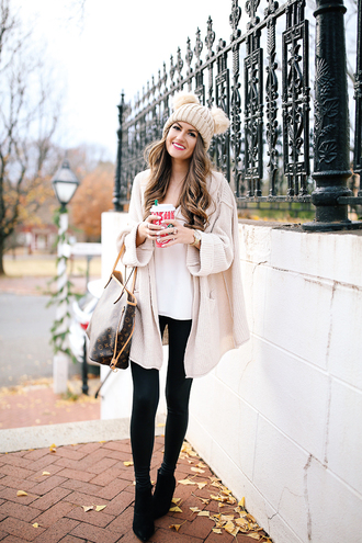 southern curls and pearls blogger cardigan tank top leggings shoes hat make-up winter outfits beanie louis vuitton bag louis vuitton ankle boots boots