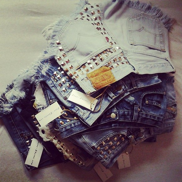 denim studded shorts High waisted shorts jeans vintge vintage lev levi