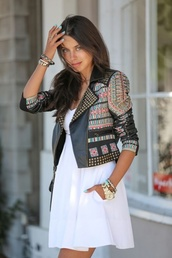 jacket,leather jacket,leather,boho,chic,dress,tribal pattern,tribal jacket,aztec,aztec jacket,studs,studded jacket,black,pink,blue,badass,boho jacket,printed jacket,embellished jacket,white dress,mini dress,bracelets,viva luxury,blogger