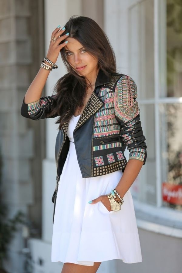 jacket leather jacket leather boho chic dress tribal pattern tribal jacket aztec aztec jacket studs studded jacket black pink blue badass boho jacket printed jacket embellished jacket white dress mini dress bracelets viva luxury blogger
