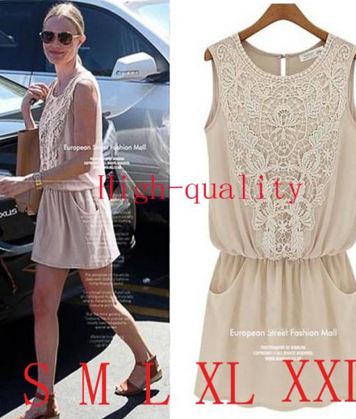 2014 new summer womens round neck sleeveless vest dress Retro lace stitching chiffon dress free shipping | Amazing Shoes UK