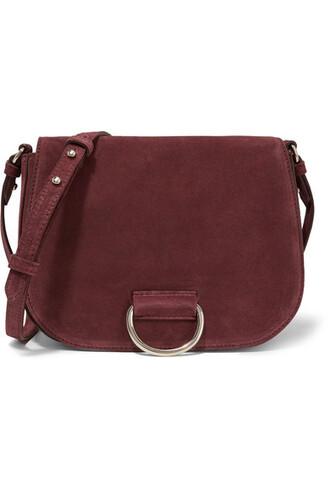 bag shoulder bag suede burgundy