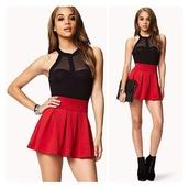 blouse,top,black,mesh,cut-out,red,skirt,skater skirt,shirt,tank top