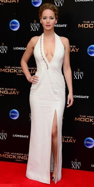 dress white dress long v-neck jennifer lawrence