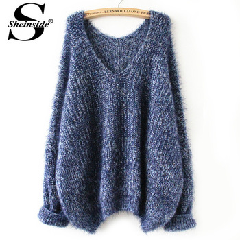 Aliexpress.com : buy sheinside 2014 autumn hot sale fashion women new designer casual navy long sleeve v neck oversize mohair sweater from reliable sweater sale women suppliers on sheinside group co. ltd.