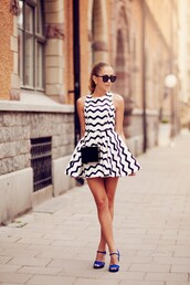 kenza,dress,bag,shoes,sunglasses,jewels,classy,purse,clutch,black and white,aztec,skater,stripes,fashion,style