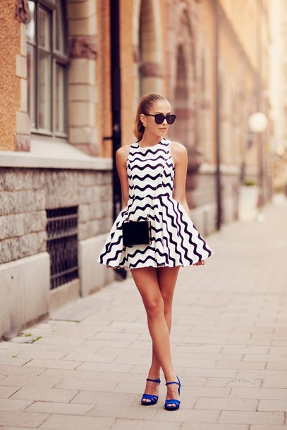 kenza dress bag shoes sunglasses jewels classy purse clutch black and white aztec skater stripes fashion style