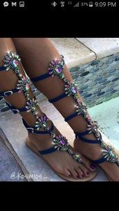 shoes,flat sandals,rhinestones,embellished sandals