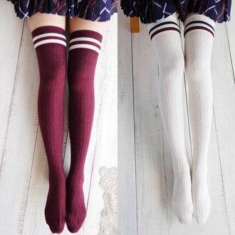 socks stockings burgundy white knee high socks