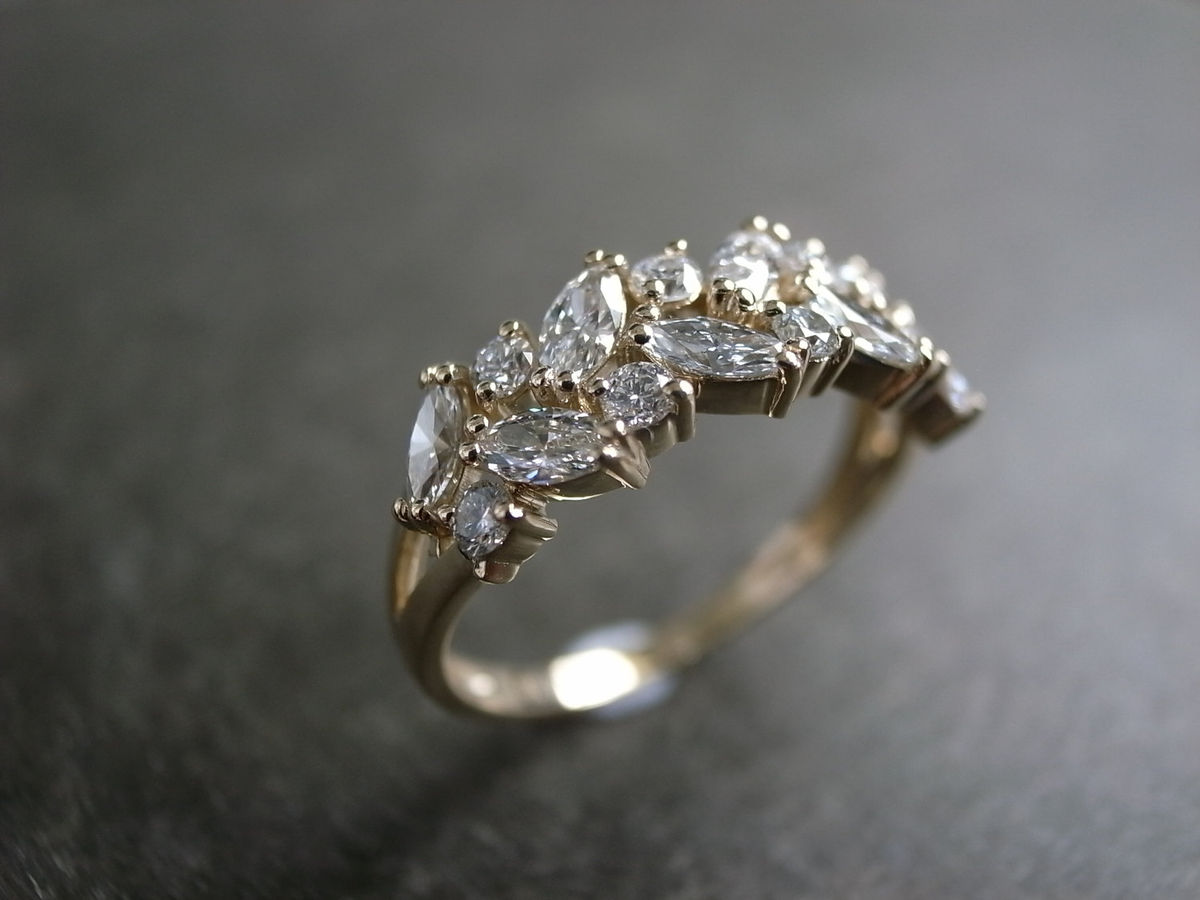 Marquise Diamond Wedding Ring - Hon Ngai Fine Jewelry