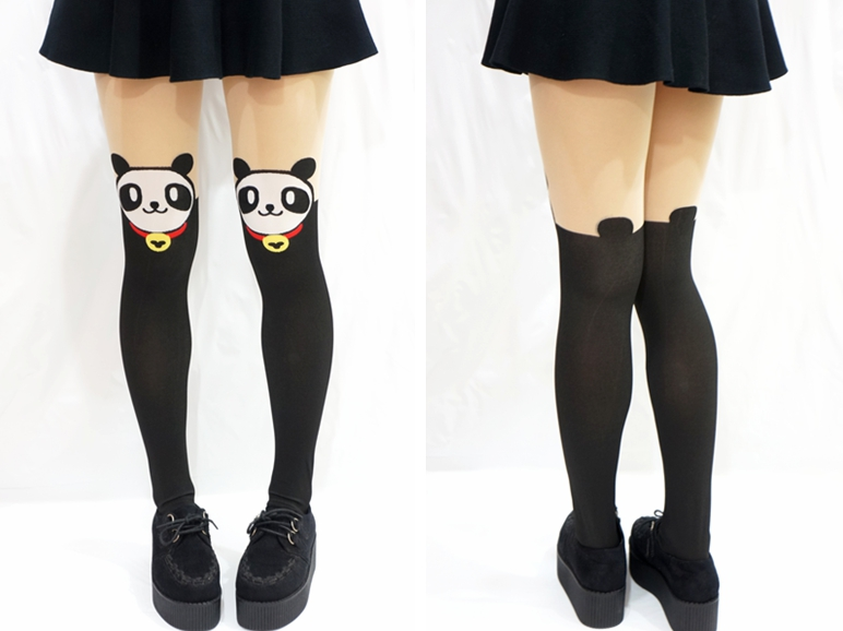 Kawaii panda face with bell thigh high tights/ pantyhose · sandysshop · online store powered by storenvy