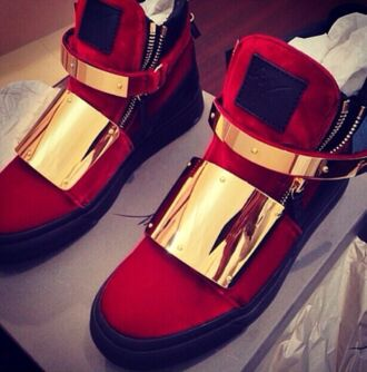 shoes giuseppe zanotti red sneakers red sneakers gold black