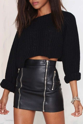 sweater black cropped sweater zip leather high waisted winter outfits all black everything zaful