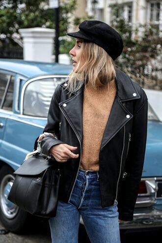 sweater tumblr beige sweater jacket black jacket black leather jacket leather jacket hat black hat fisherman cap denim jeans blue jeans bag black bag