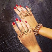 jewels,ring,gold,quote on it,cool,big rings,big,fingers,accessories,jewelry,gold jewelry,worded,worded jewelry