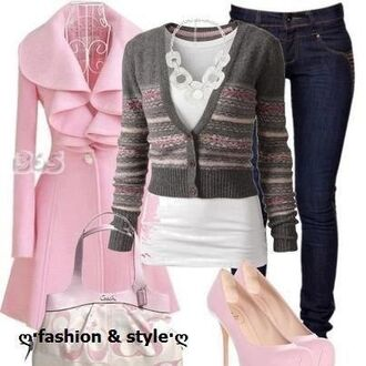 coat pink ruffle collar peacoat pink baby pink high heels