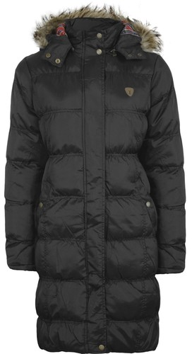 NEW LADIES FUR LONG HOODED QUILTED PADDED PARKA JACKET WOMENS COAT   eBay