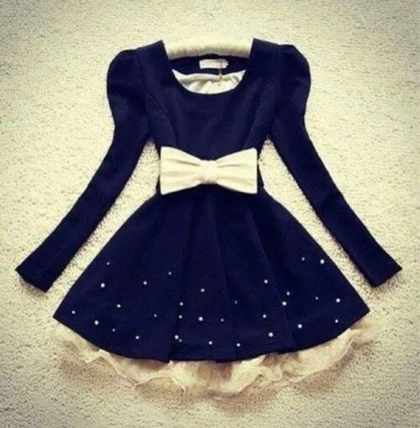 dress sweet glitter lovely dark blue short white bow blue dress white pink lovely dress bow short dress bows cute black dress white dress